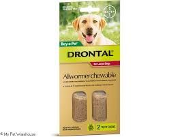 BAY O PET DRONTAL ALL WORMER CHEWABLE FOR LARGE DOGS